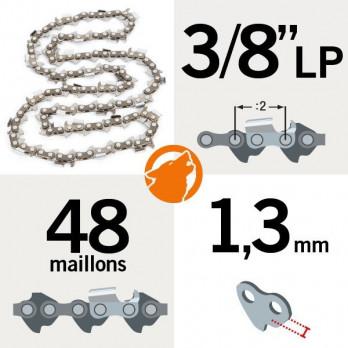 """Chaine tronçonneuse Kerwood 3/8"""" LP - 1,3 - 48 M"""
