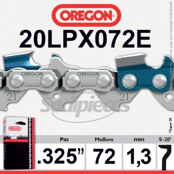 "CHAINE OREGON 20LPX072E super20 - 325"" 1,3mm - 72 maillons"