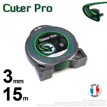 Fil Cuter' Pro ®. Débroussailleuses sous coque 3 mm x 15 m.