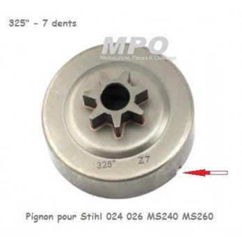 """Pignon pour Stihl 024 026 MS240 MS260 325"""" 7 dents"""
