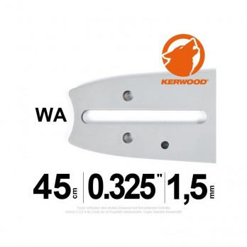"""Guide tronçonneuse Kerwood 45 cm 0.325"""" 1,5 72 maillons"""