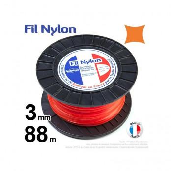 Fil nylon carré. 3 mm x 88 m.