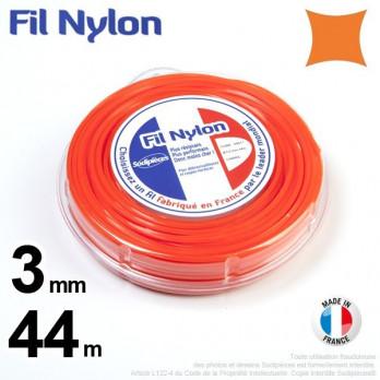 Fil nylon carré. 3 mm x 44 m