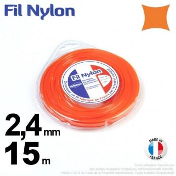 FIL NYLON CARRE. 2,4 mm x 15 m.