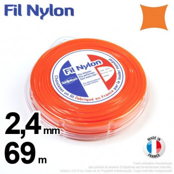 FIL NYLON CARRE. 2,4 mm x 69 m.