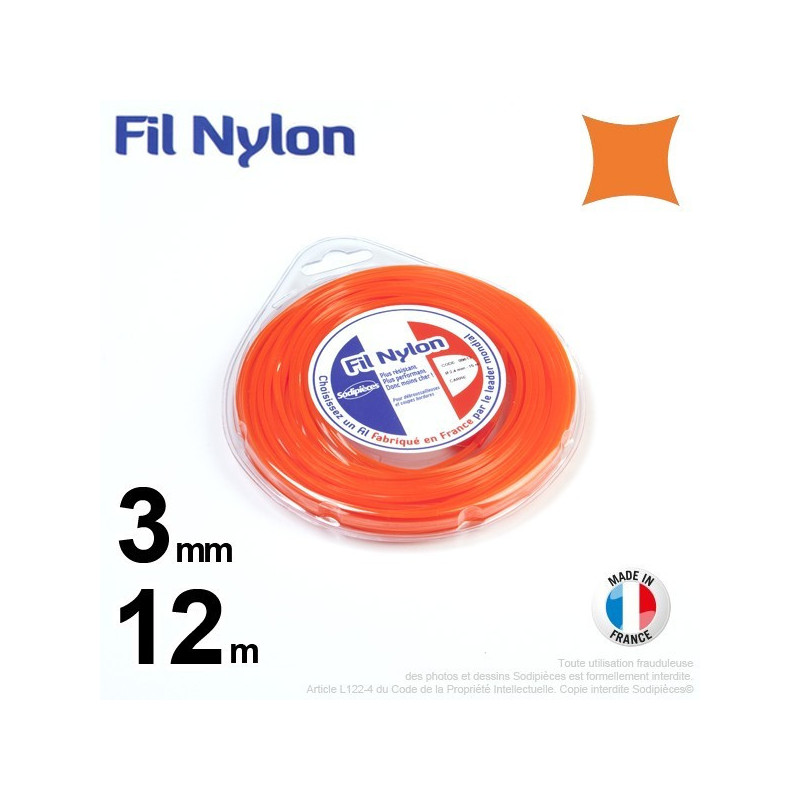 Fil nylon carré.3 mm x 12 m.