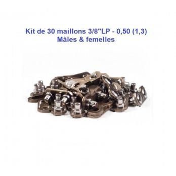 """Kit de 30 maillons chaîne tronçonneuse 3/8""""LP, 050"""" mâles & femelles"""