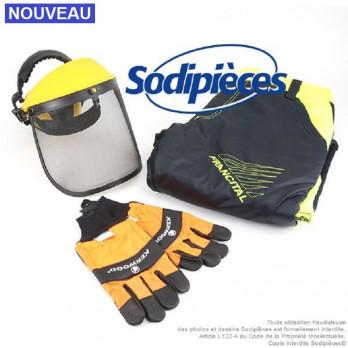 Kit de protection : pantalon forestier + gants + casque écran visière grillagée