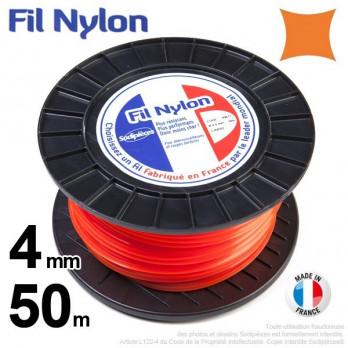 Fil nylon carré. 4 mm x 50 m.