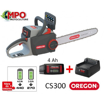 Tronçonneuse à batterie 36V Oregon CS300-A6 + Batterie 4.0Ah + chargeur