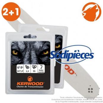 """Kit 1 guide 40 cm 3/8""""LP 1,3 mm + 2 chaînes (Tronçonneuse)"""