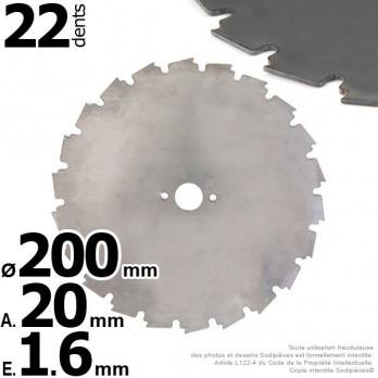 Lame pour débroussailleuse, à gouges dentées Ø 200 mm.