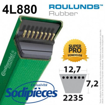 Courroie tondeuse 4L880 Roulunds Continental 12.7 x 7.2 x 2235 mm