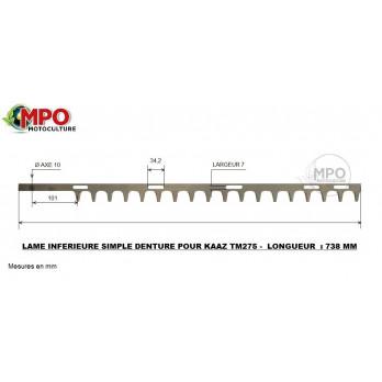 Lame supérieure taille-haie KAAZ Tm 310 - Longueur totale : 840 mm