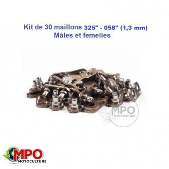 """Kit de 30 maillons de chaîne pas 325"""" / Jauge 058"""" mâles et femelles Ozaki"""