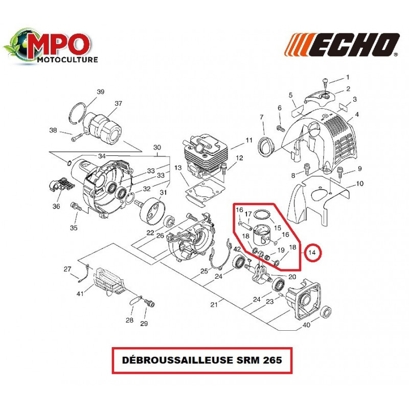 Piston complet origine Echo Ø 34 mm pour débroussailleuse SRM 265