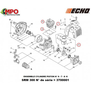 Ensemble cylindre piston pour ECHO SRM 300TES