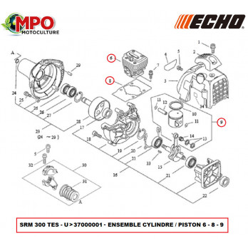 Cylindre Piston pour ECHO SRM 300 TESU - ORIGINE